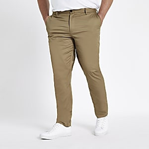 Big and Tall tan chino slim fit pants