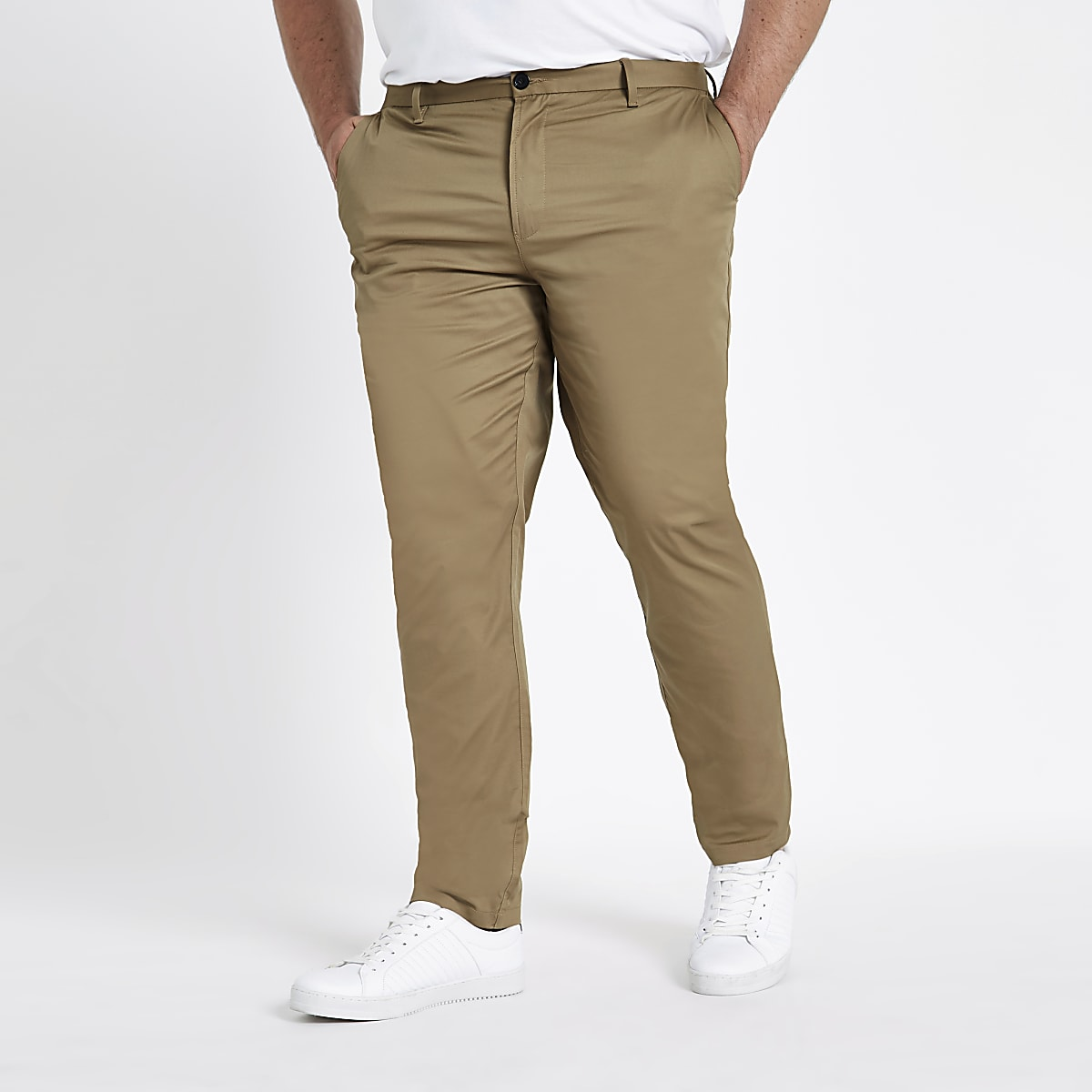 Big and Tall tan chino slim fit trousers