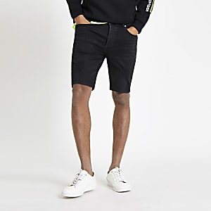 Black wash skinny ripped denim shorts