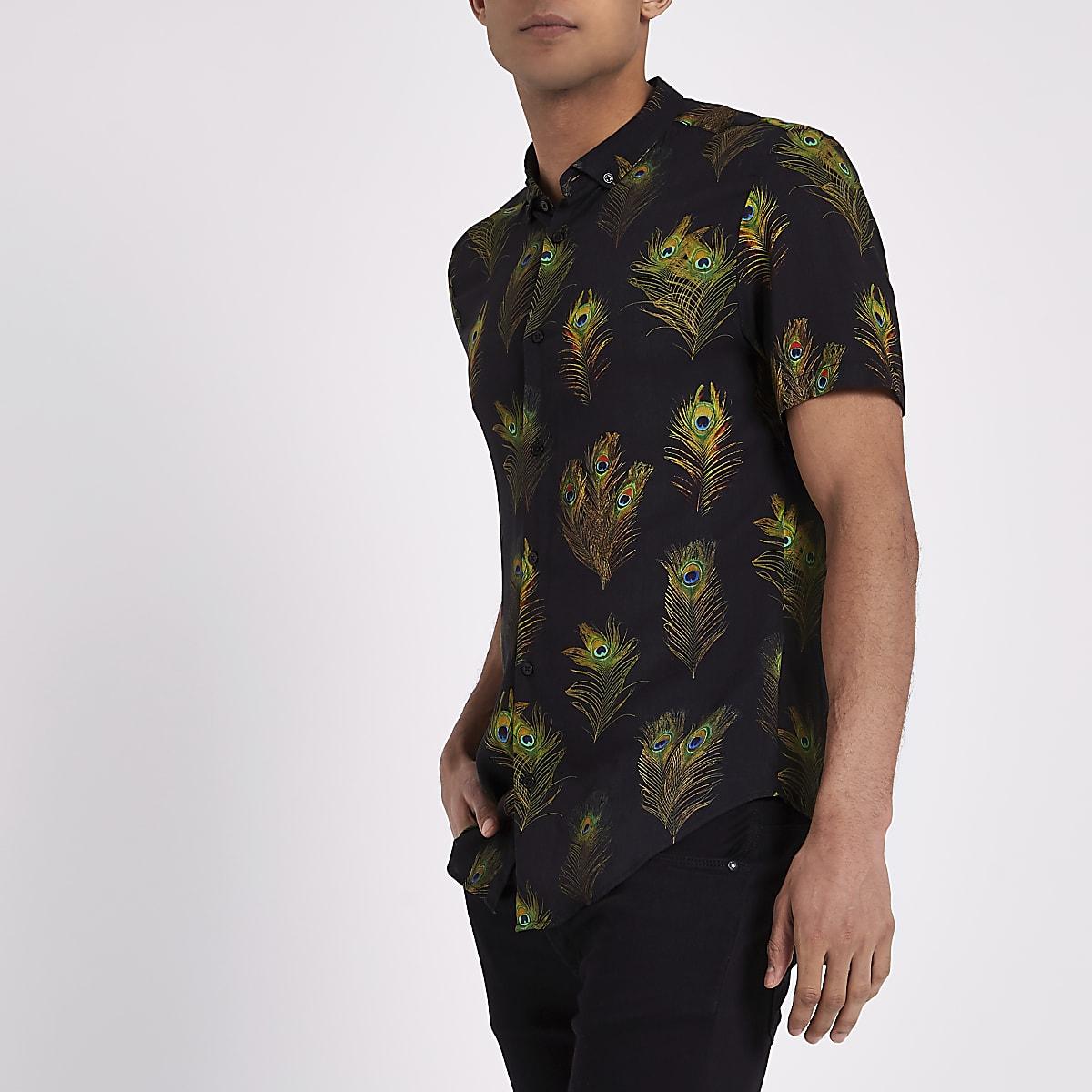 Overhemd Zwart Slim Fit.Zwart Slim Fit Overhemd Met Pauwenprint En Korte Mouwen Overhemden