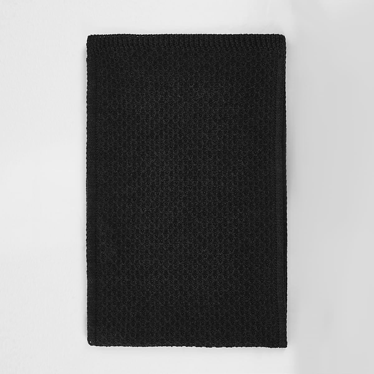Charcoal grey textured knit scarf