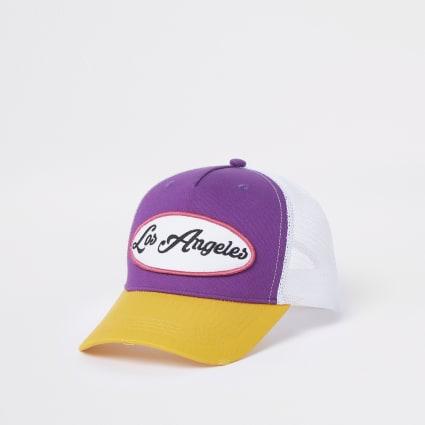 Purple colour block mesh trucker cap