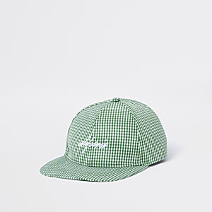 Green gingham flat peak cap