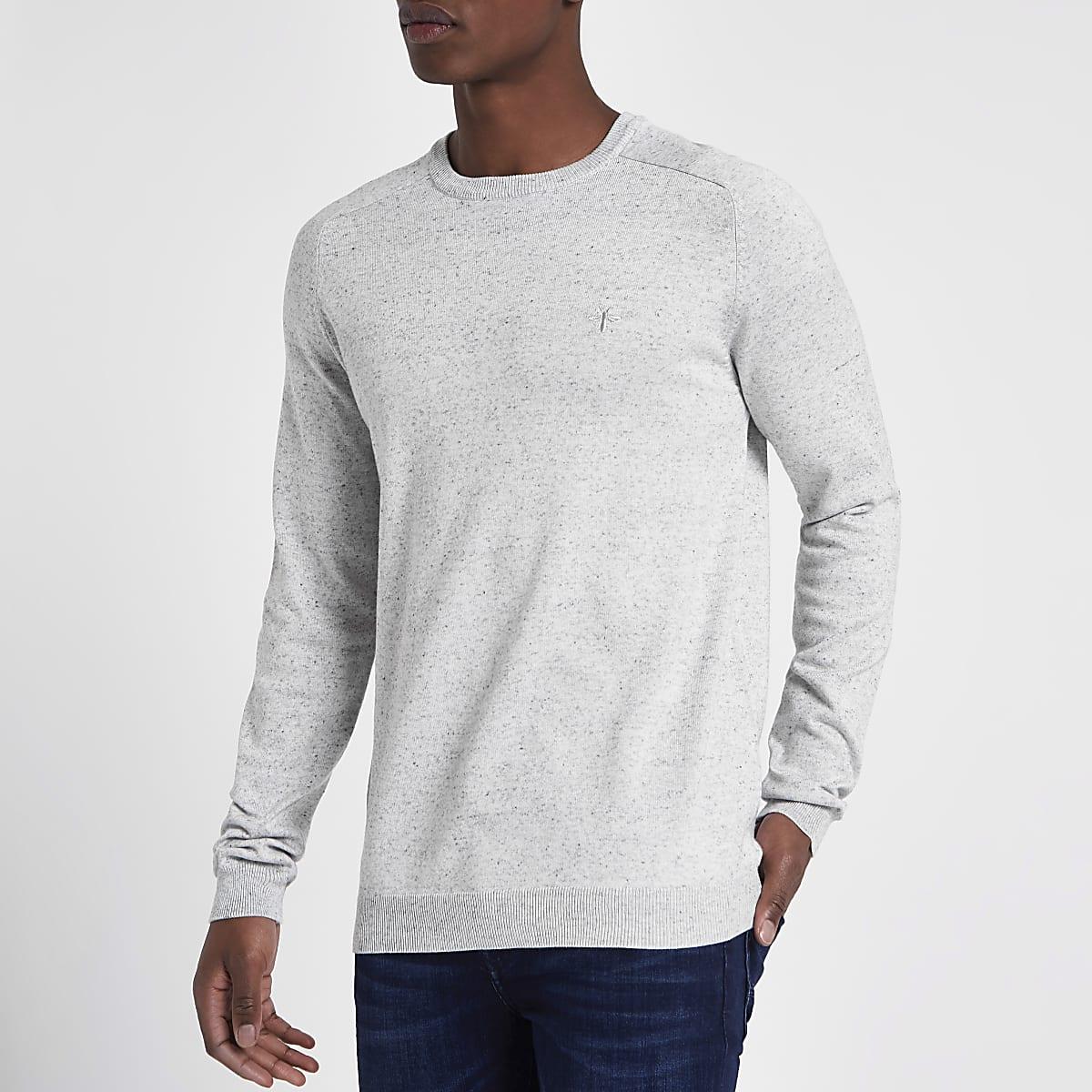 Grey slim fit crew neck jumper