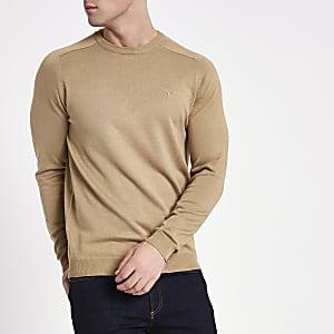 Light brown slim fit crew neck jumper