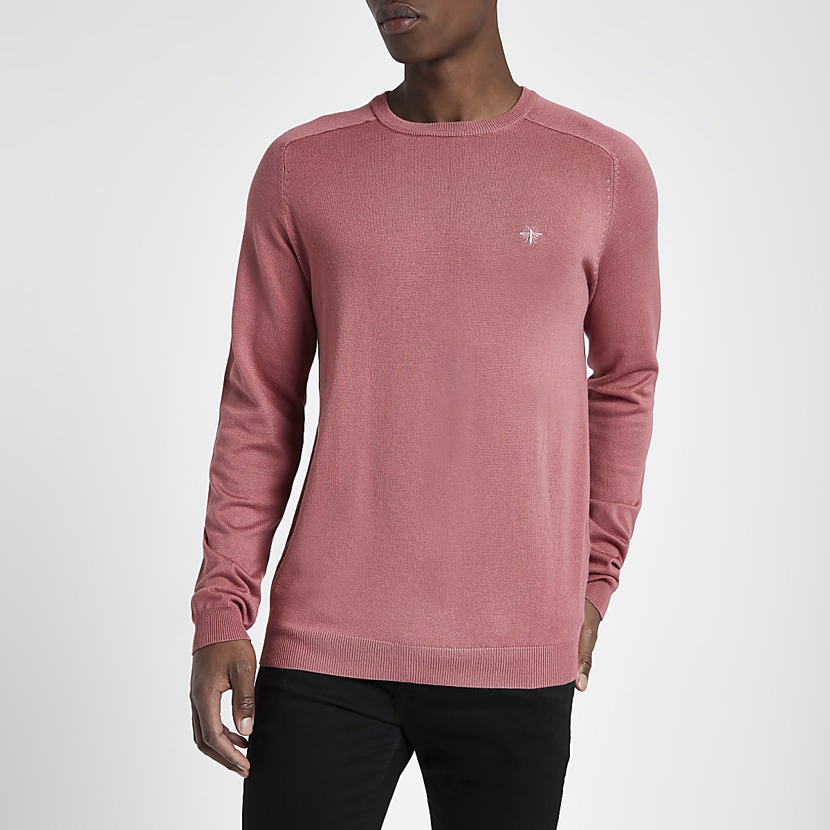 Pink slim fit crew neck jumper