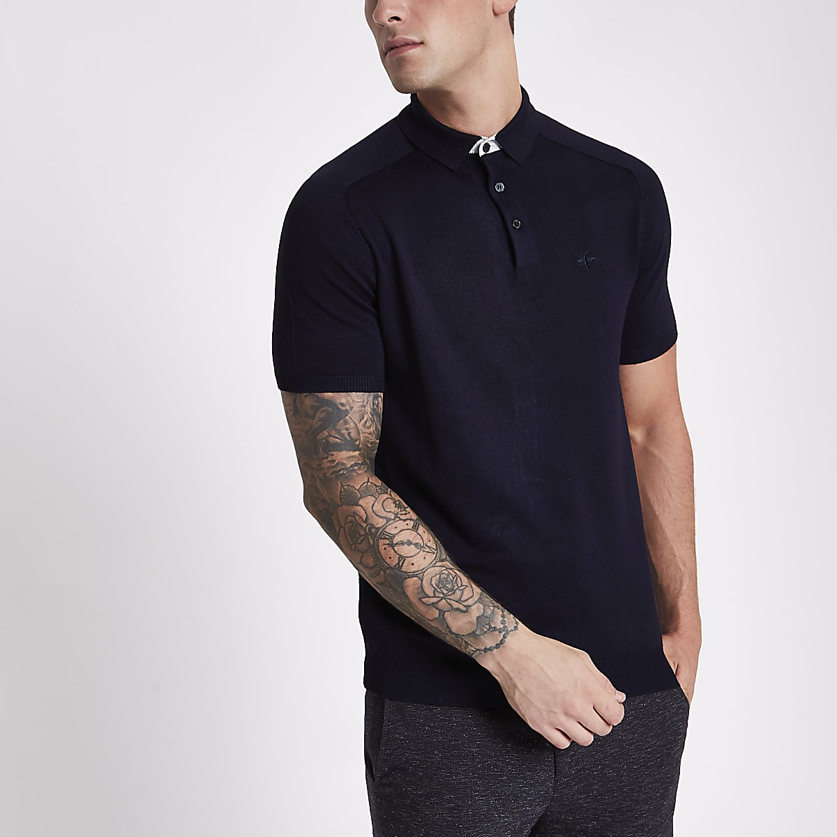 Navy slim fit short sleeve knitted polo shirt