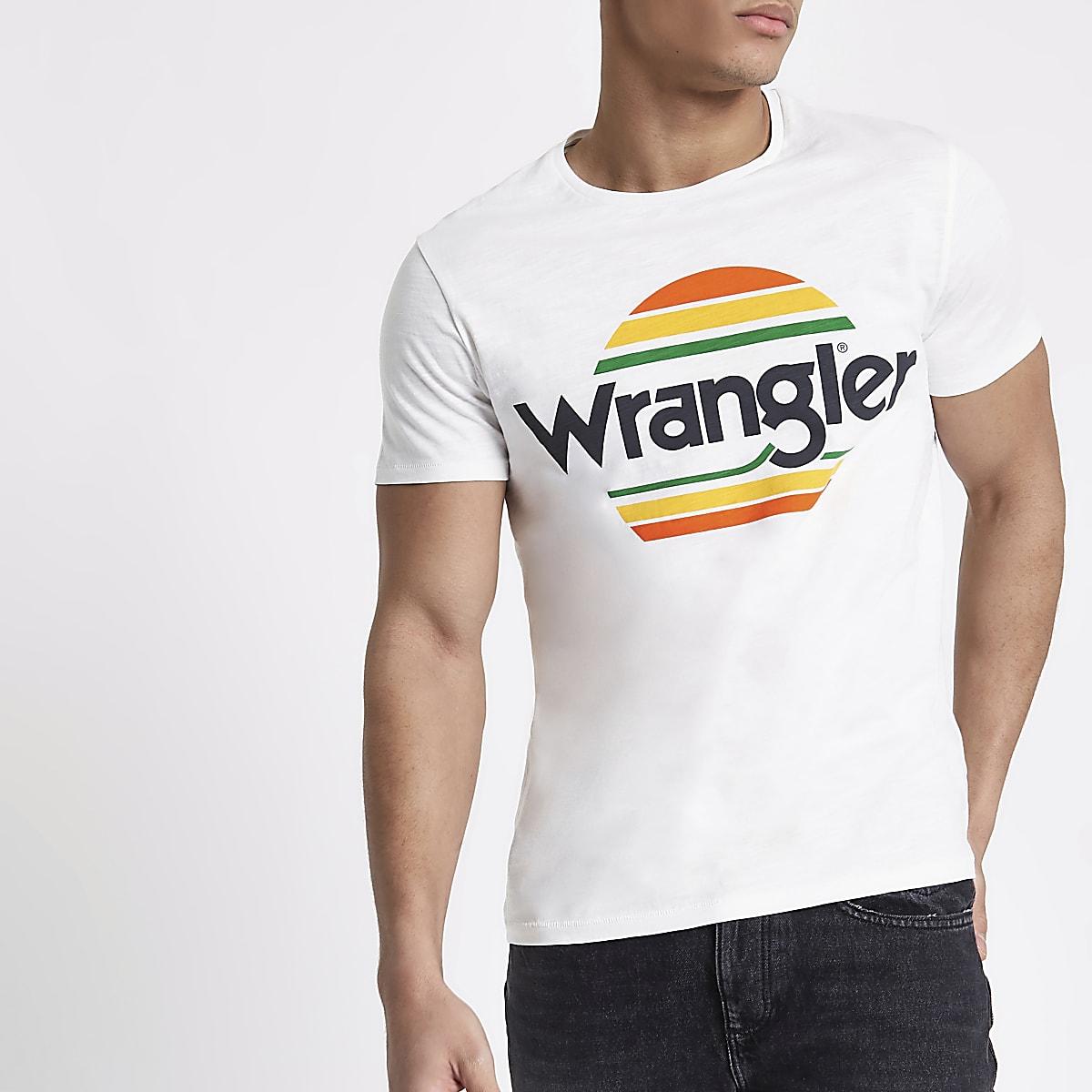 Wrangler white festival logo print T-shirt