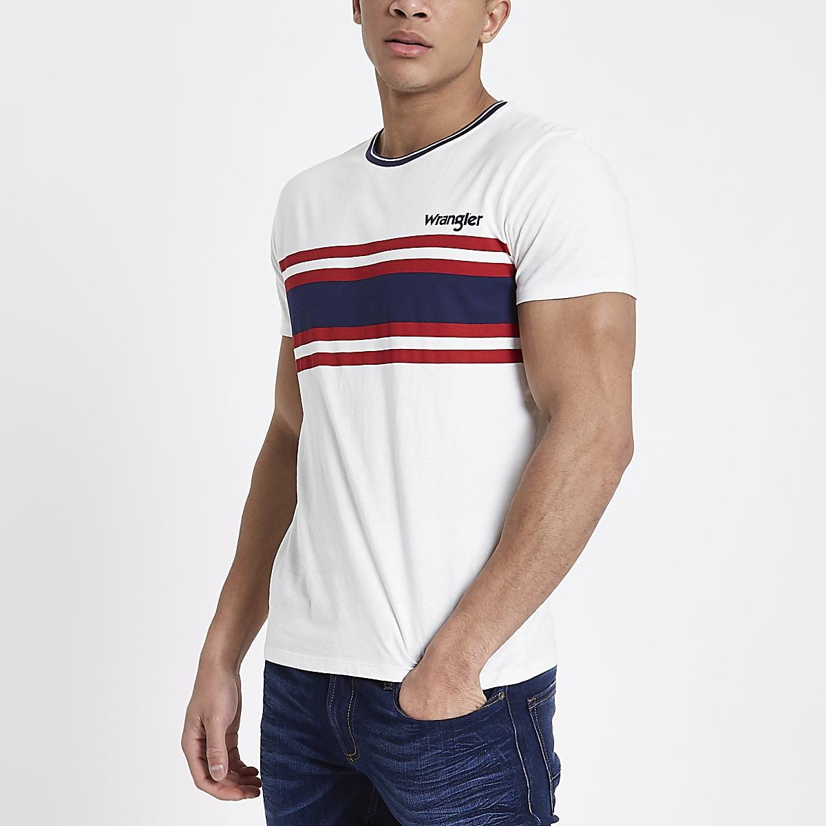 Wrangler white stripe print T-shirt