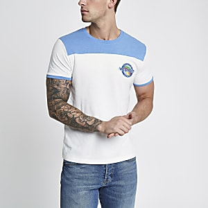 Wrangler blue short sleeve contrast T-shirt