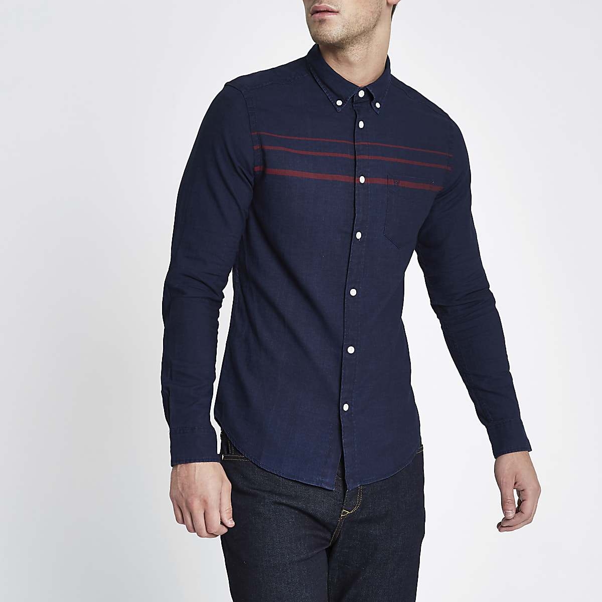 Wrangler navy stripe long sleeve pocket shirt