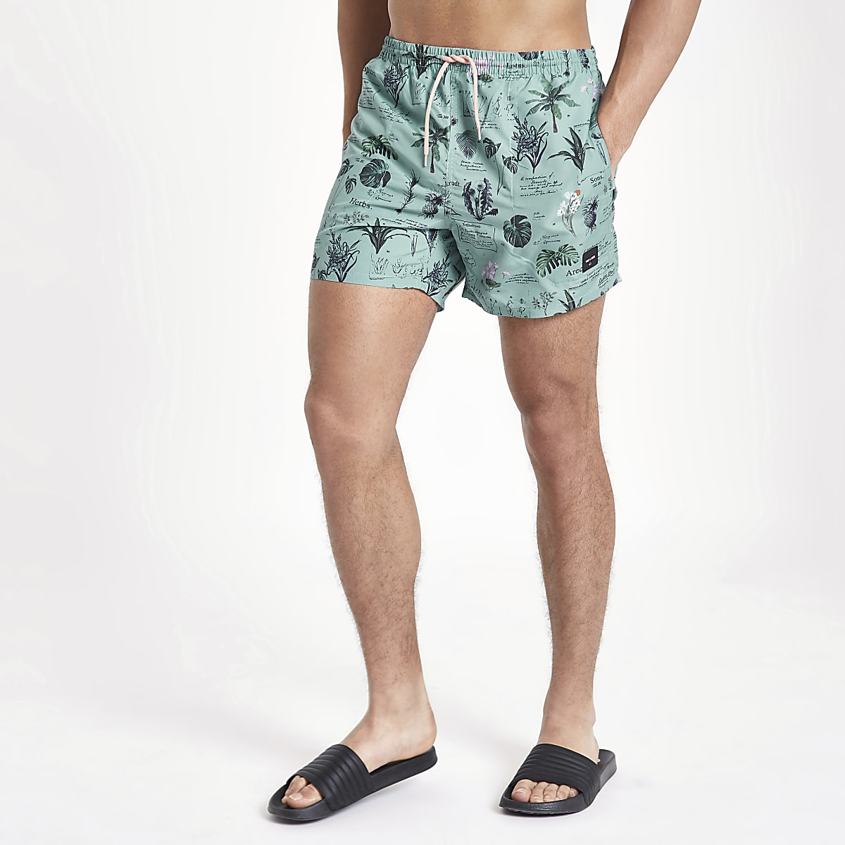 Only & Sons blue print swim shorts