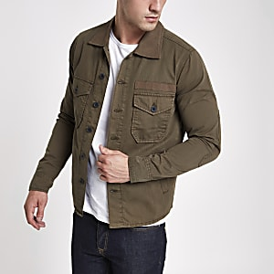 Wrangler khaki button-down overshirt