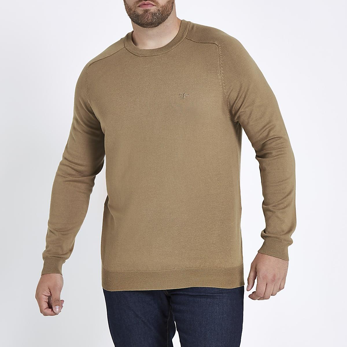 Big & Tall – Pullover in Camel mit Rundhalsausschnitt