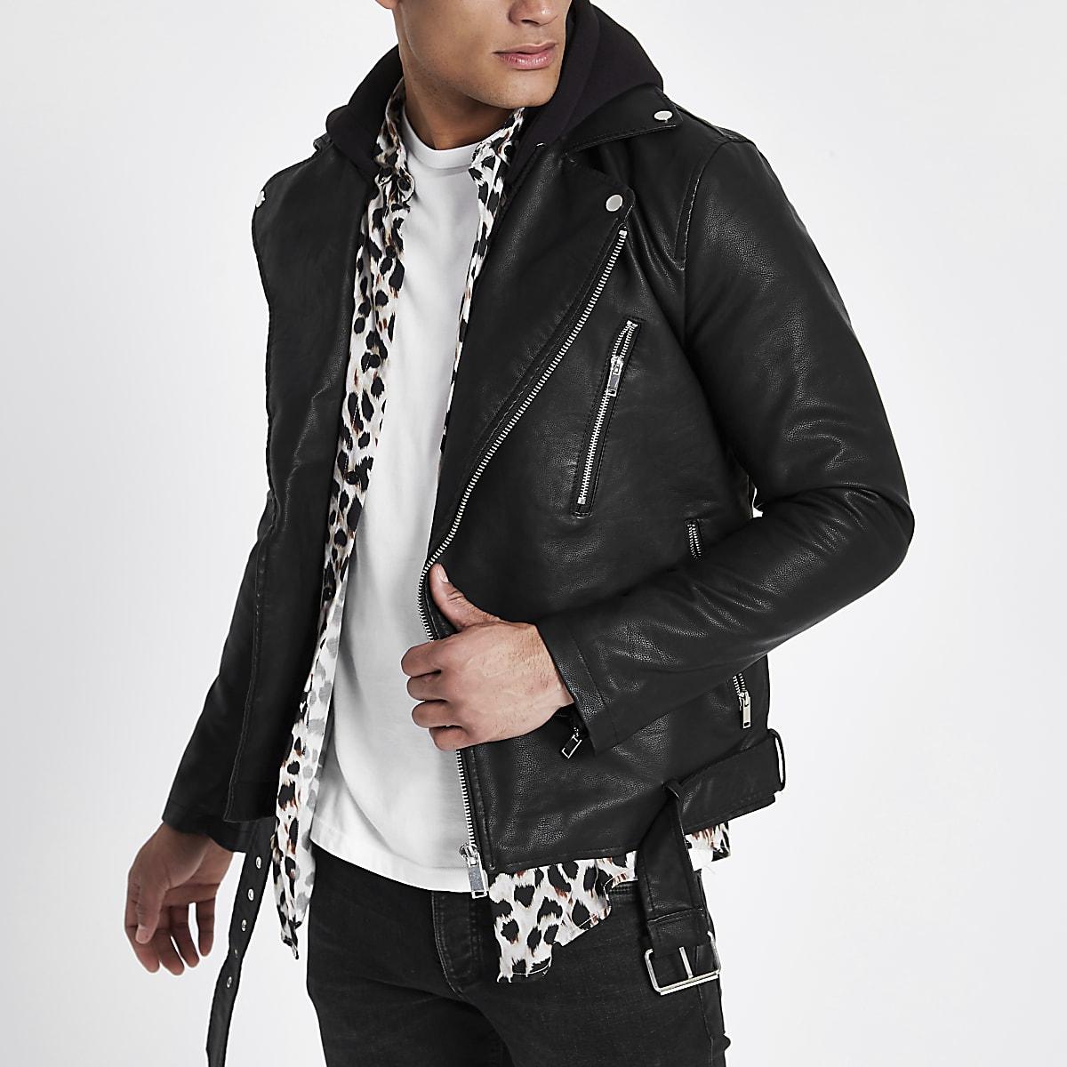 46bc12123725 Black hooded faux leather biker jacket - Jackets - Coats & Jackets - men