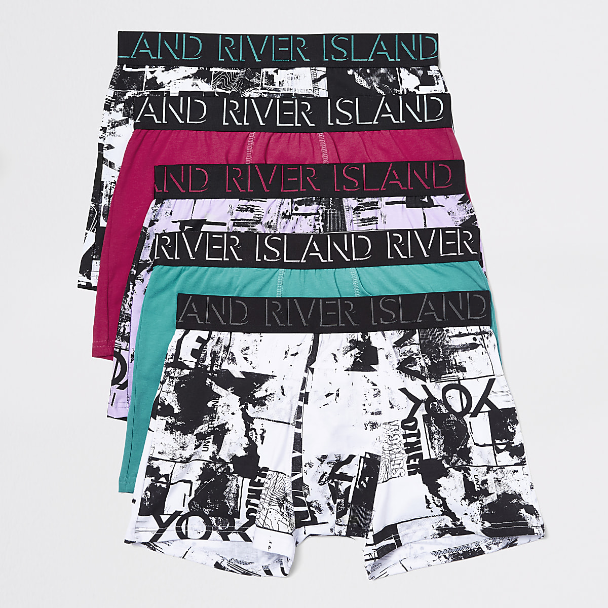 Pink RI print trunks 5 pack