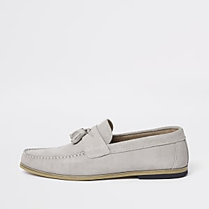Ice grey suede tassel loafers