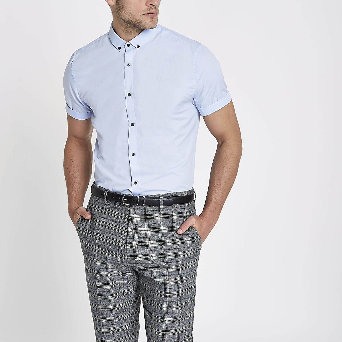 Slim Fit Overhemd.Lichtblauw Slim Fit Overhemd Met Korte Mouwen Overhemden Met Korte