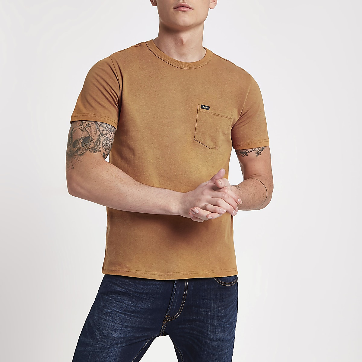 Lee tan crew neck pocket T-shirt