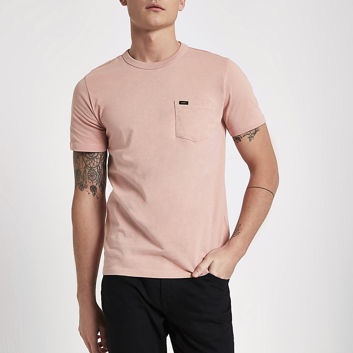 Lee pink pocket crew neck T-shirt