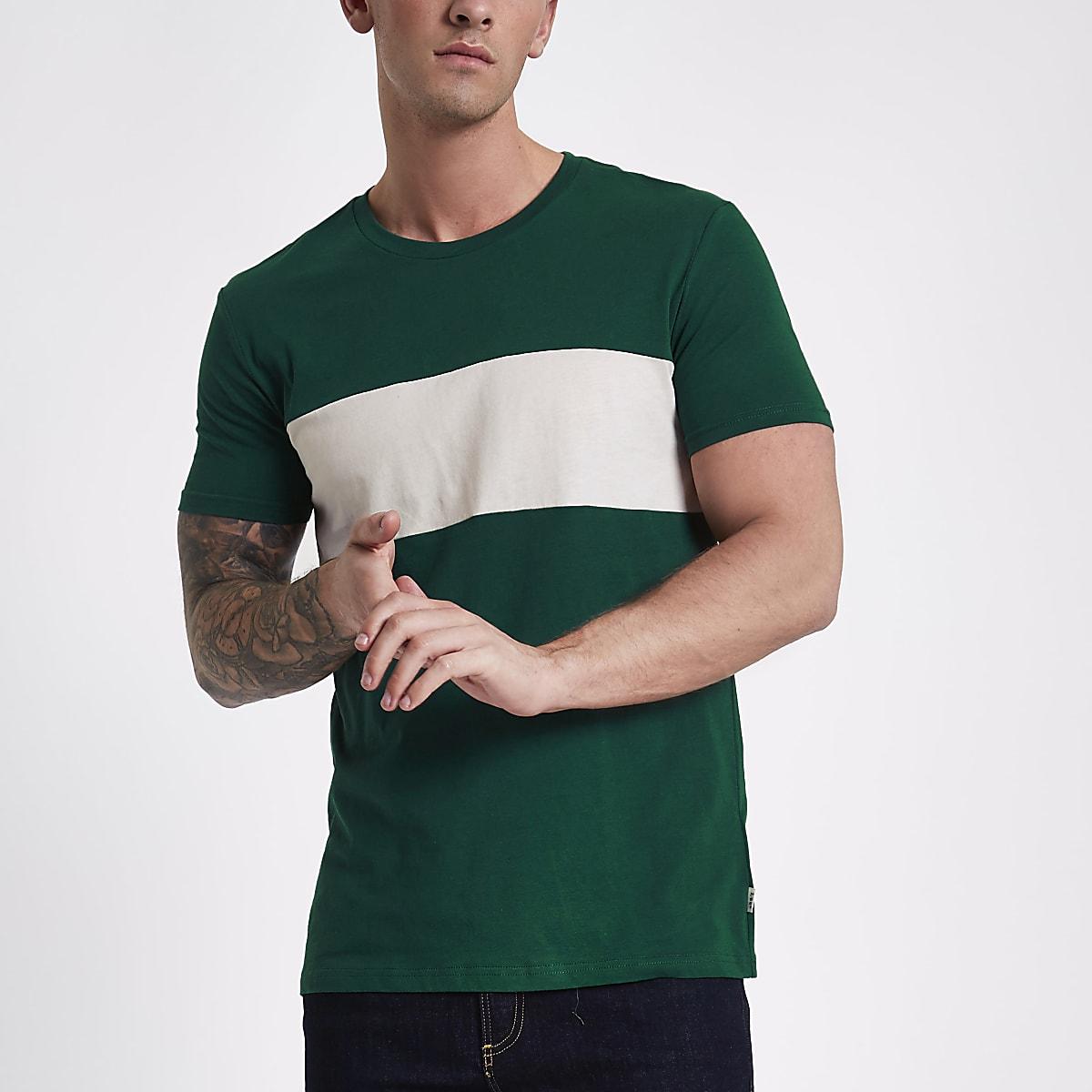 Lee green colour block crew neck T-shirt