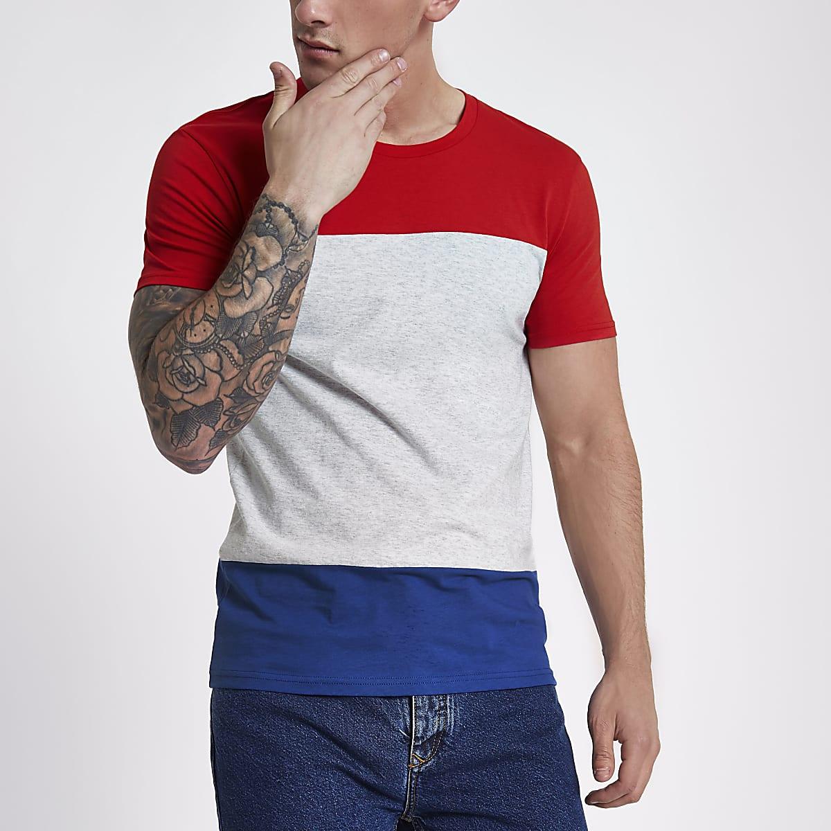 Lee red colour block crew neck T-shirt