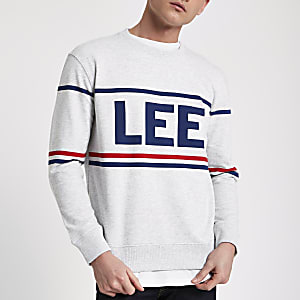 Lee grey marl brand print sweatshirt