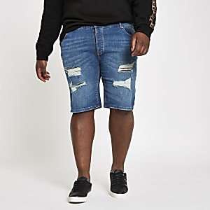 Big and Tall – Blaue Skinny Jeansshorts im Used-Look