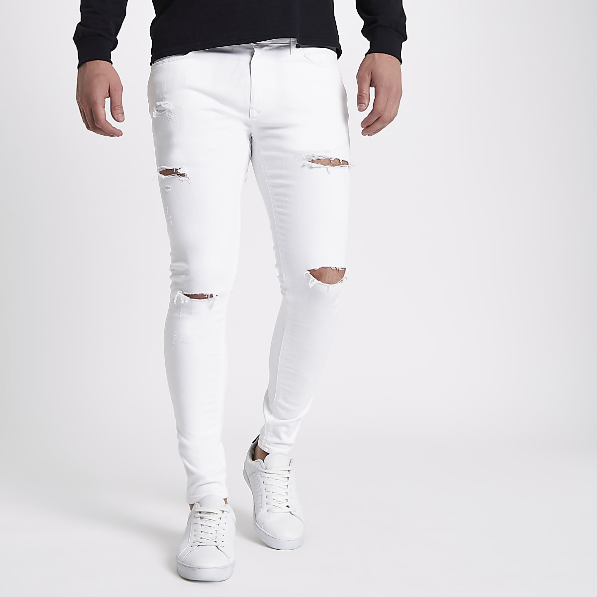 ef1f6cac6a White ripped Ollie super skinny jeans - Spray On - Jeans - men