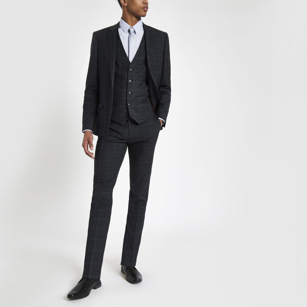 Marineblauwe geruite skinny-fit pantalon