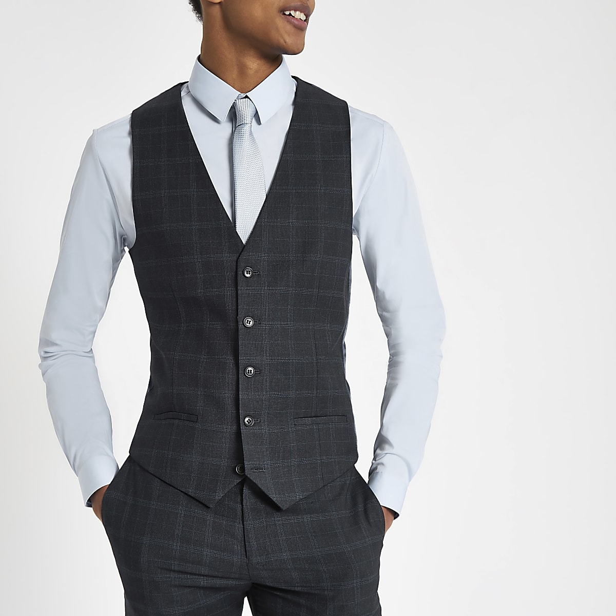 Navy check suit waistcoat