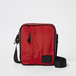 Red cross body mini messenger bag