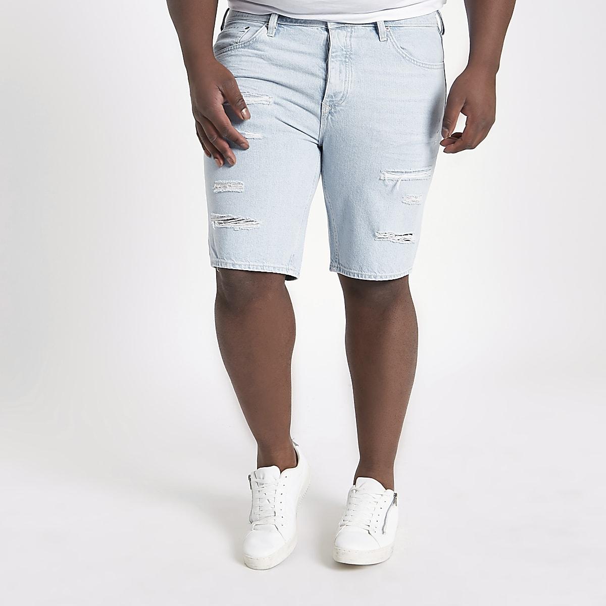 Big & Tall – Hellblaue Jeansshorts im Used Look