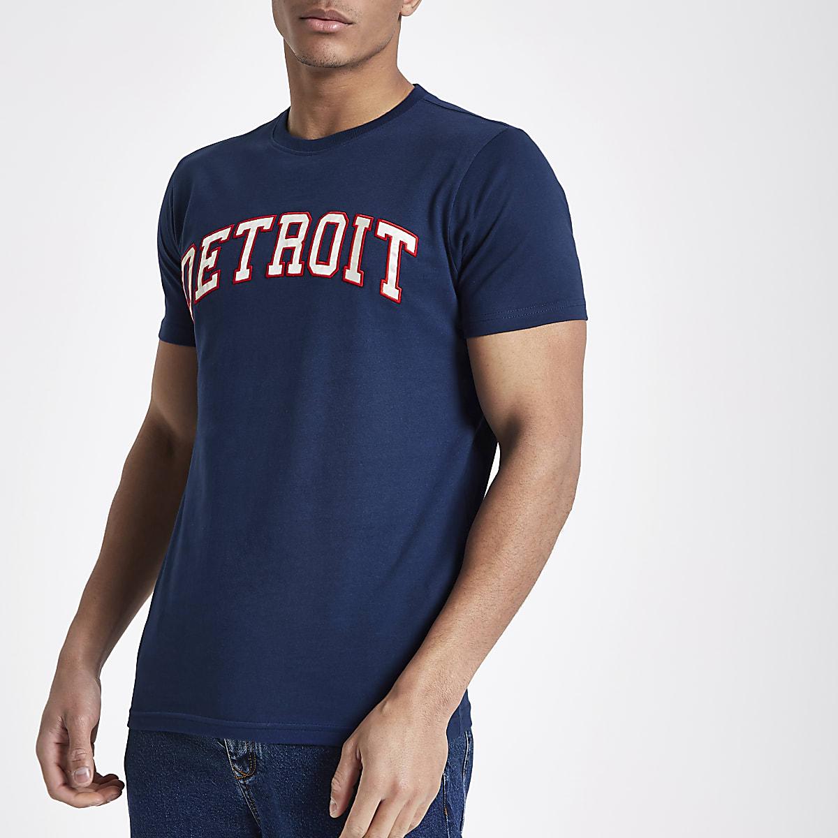 Schott navy 'detroit' print T-shirt