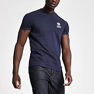 Franklin & Marshall - Marineblauw T-shirt met ronde hals