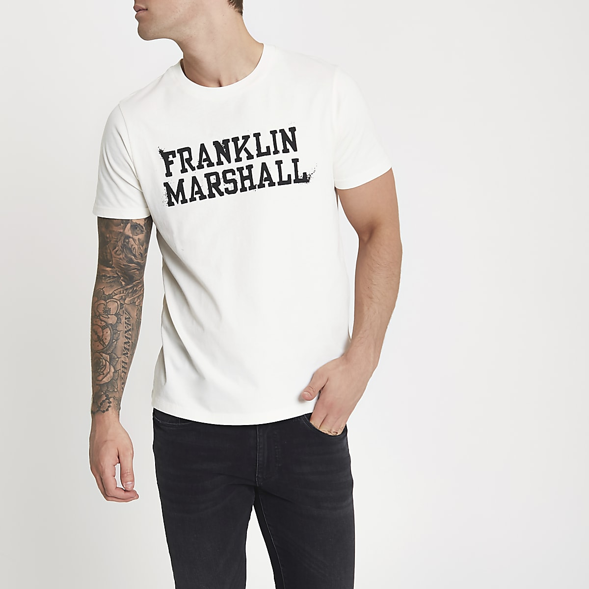 Franklin & Marshall white print T-shirt
