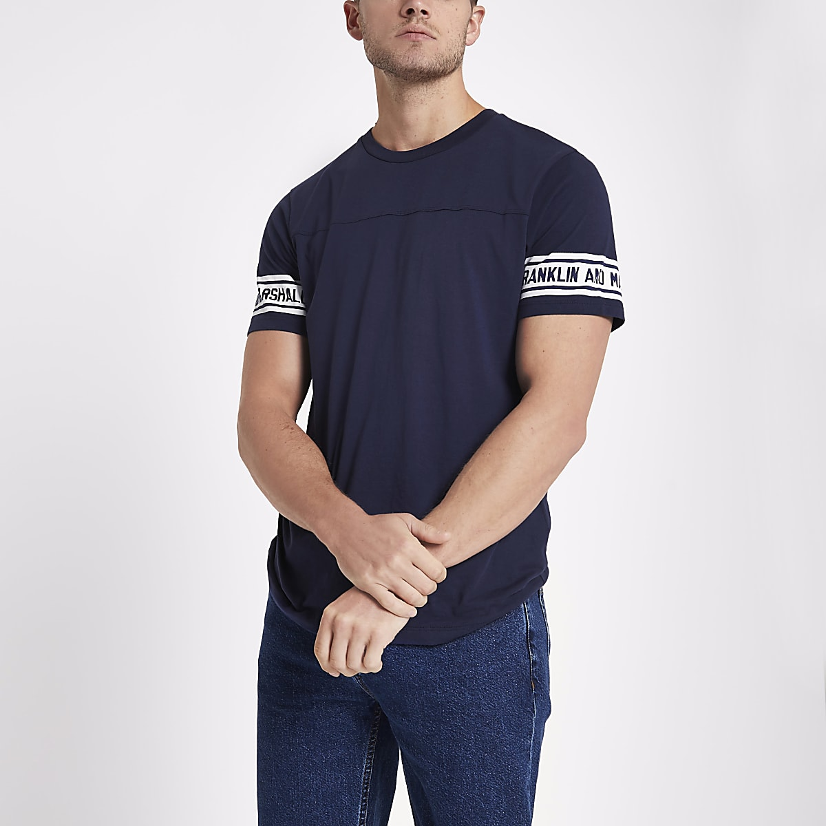Navy Franklin & Marshall varsity T-shirt