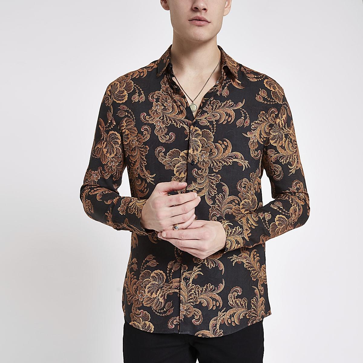 We Overhemd Slim Fit.Zwart En Goudkleurig Slim Fit Overhemd Met Barokke Print