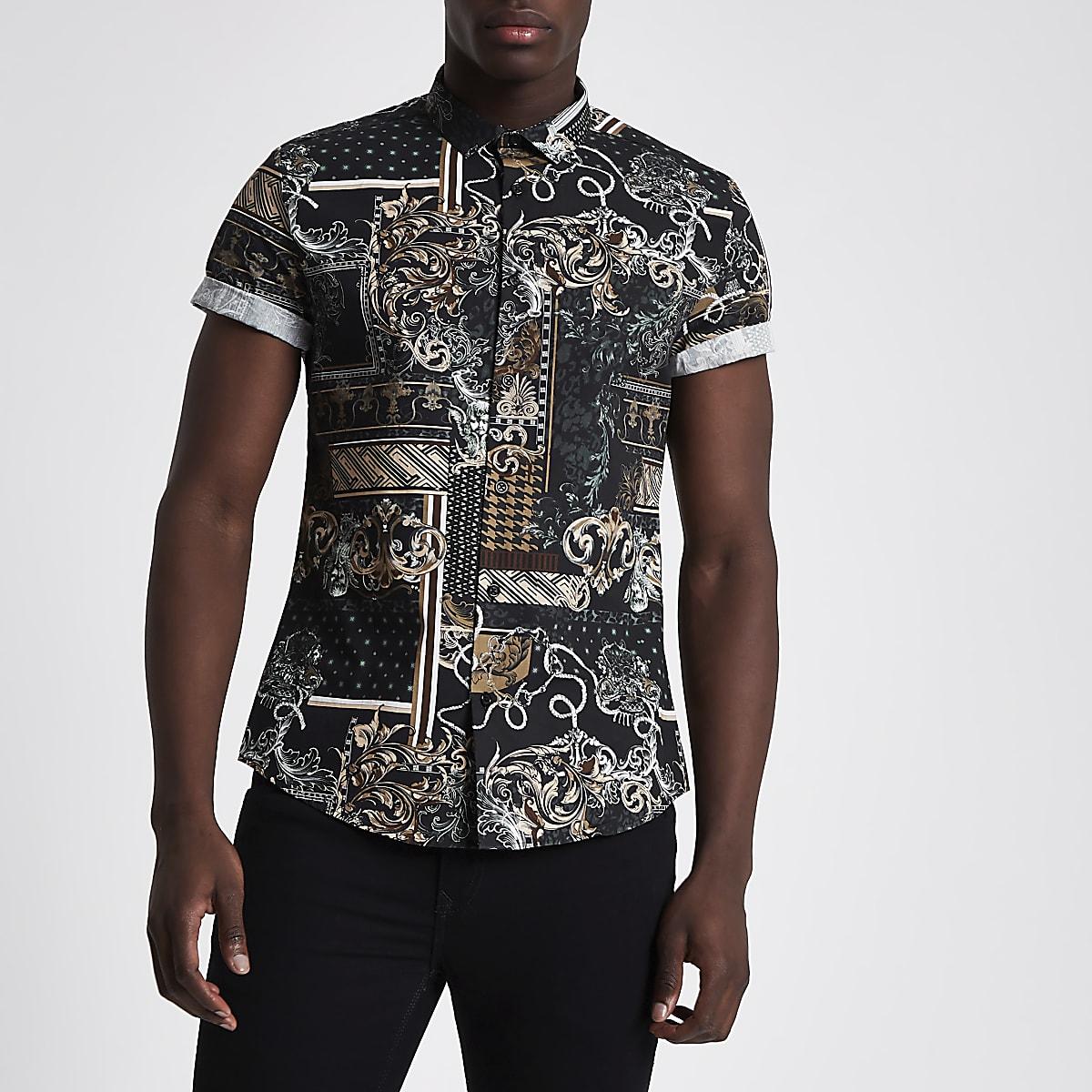 Overhemd Zwart Slim Fit.Zwart Slim Fit Overhemd Met Barokprint En Korte Mouwen Overhemden