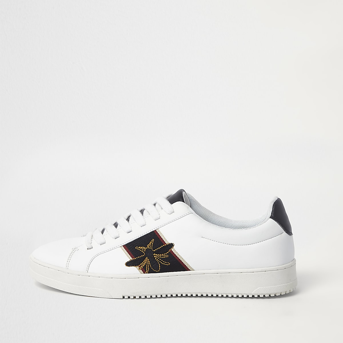 White wasp embroidered sneakers