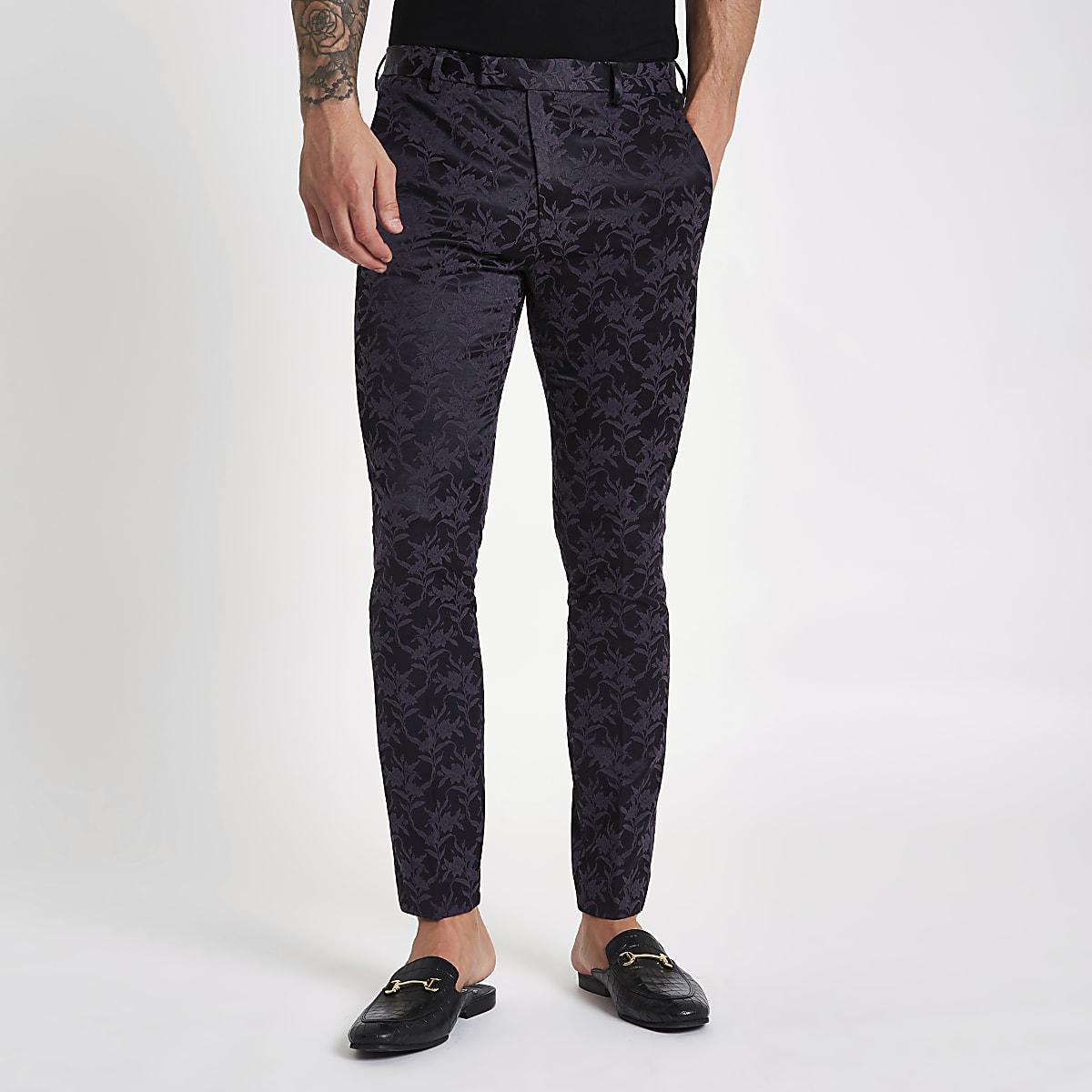 Purple floral skinny fit suit pants