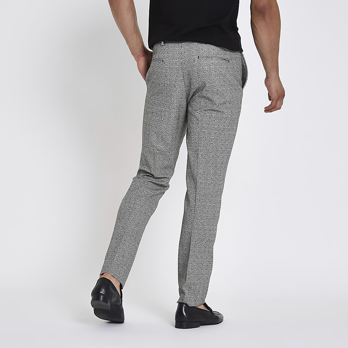 16b635433023 Grey check Prince of Wales slim fit trousers - Smart Trousers ...