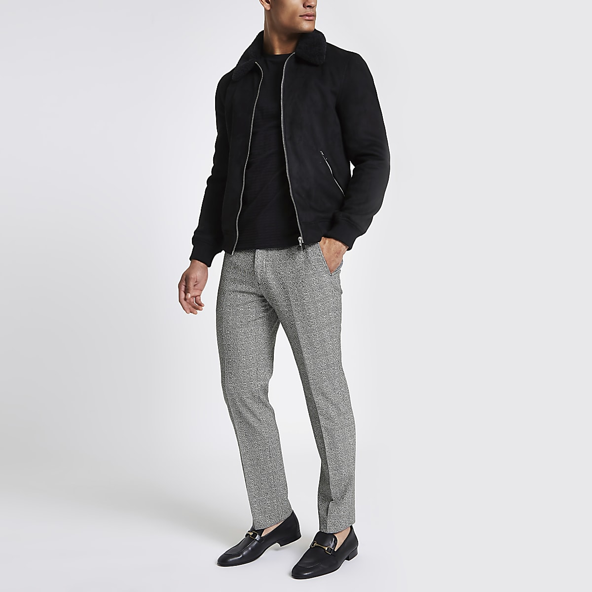 Grey check Prince of Wales slim fit pants