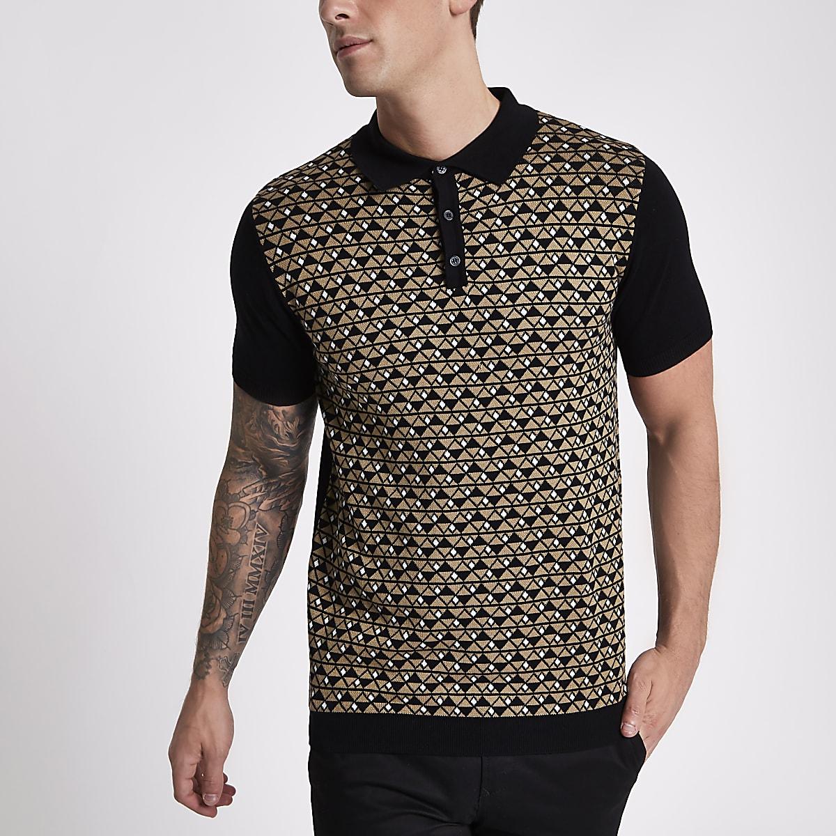 Black geo knit slim fit polo shirt