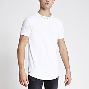Langes weißes T-Shirt mit abgerundetem Saum