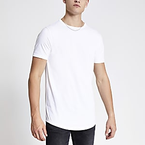 T-shirt long blanc à ourlet arrondi