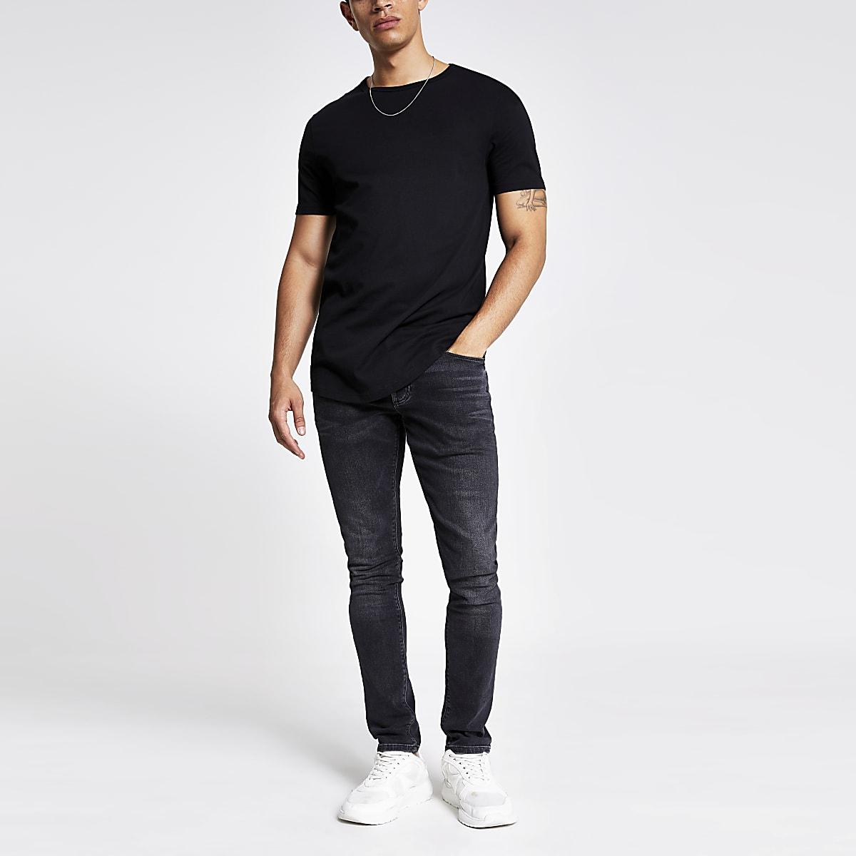 0062d29b426 Black curved hem longline T-shirt - T-shirts - T-Shirts   Vests - men