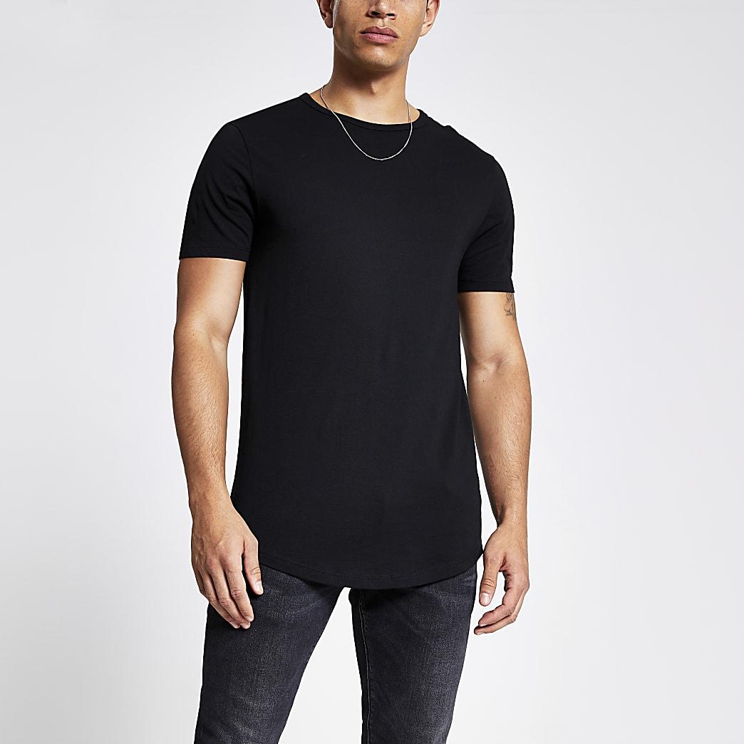Zwart lang T-shirt met ronde zoom