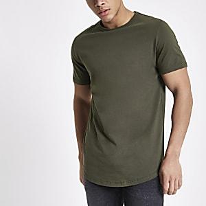 T-shirt long kaki à ourlet arrondi