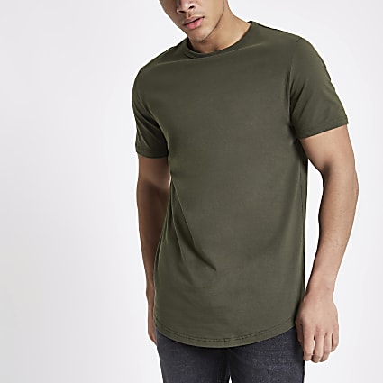 Khaki green curved hem longline T-shirt